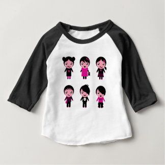 WONDERFUL LITTLE BLACK Emo Characters Baby T-Shirt