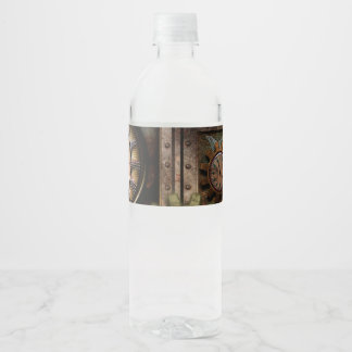 Wonderful steampunk design water bottle label