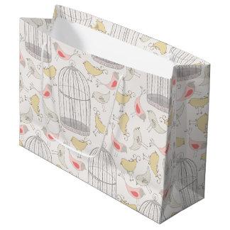 Wonderland Bird & Birdcages Pattern Large Gift Bag