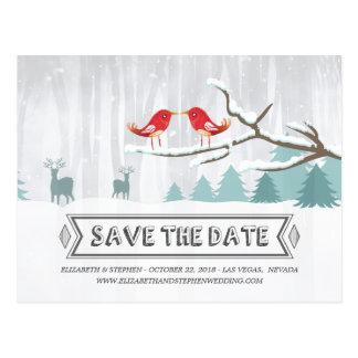 Wonderland Birds Deer Winter Wedding Save the Date Postcard