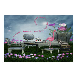 Wonderland Flamingo & Cheshire Cat Poster