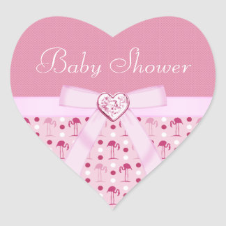 Wonderland Pink Flamingo Baby Shower Stickers