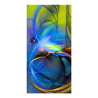Wonderment - colorful digital abstract art personalised photo card