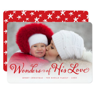 Wonders of His Love Religious Christmas Photo Card