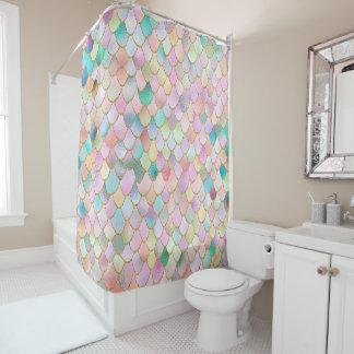 Wonky Trendy Rainbow Girl Metal Mermaid Scales Shower Curtain