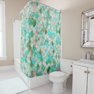 Wonky Watercolor Mint Green Glitter Mermaid Scales Shower Curtain