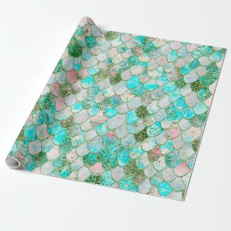 Wonky Watercolor Mint Green Glitter Mermaid Scales