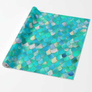 Wonky Watercolor Teal Glitter Metal Mermaid Scales