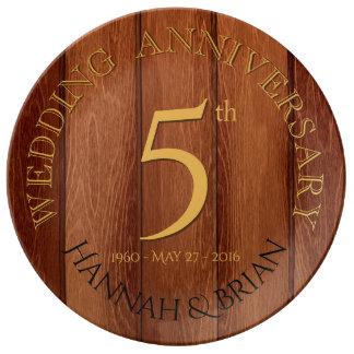 Wood 5th Wedding Anniversary porcelain plate