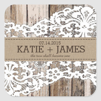 Wood and Lace Rustic Country Wedding Label Square Sticker