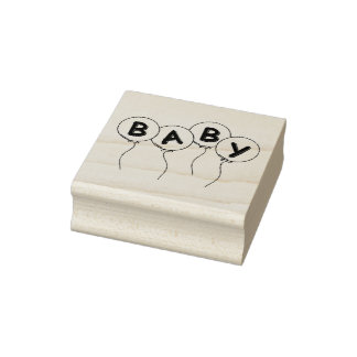 Wood Art Stamps/Balloons with Baby Rubber Stamp