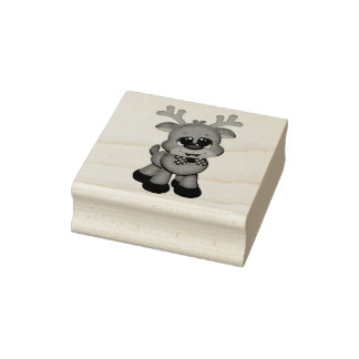 Wood Art Stamps/Cute Baby Rudolph Rubber Stamp