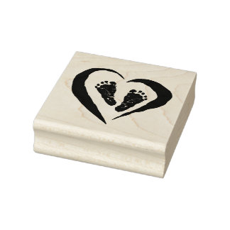 Wood Art Stamps/Heart with feet Rubber Stamp