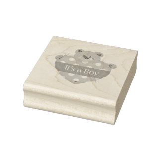 Wood Art Stamps/It's a Boy with Teddy Bear Rubber Stamp