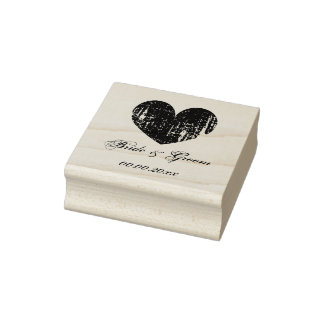 Wood art wedding stamp with vintage heart and text