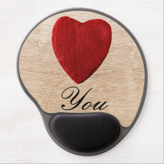Wood background Love you Gel Mouse Pad
