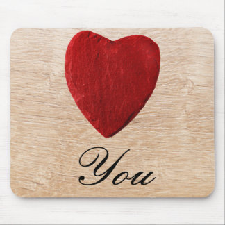 Wood background Love you Mouse Pad