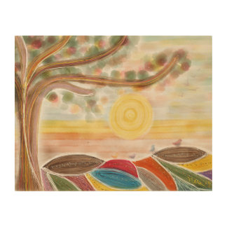 Wood Canvas with whimsical landscape drawing