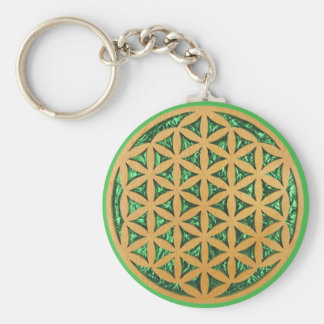 Wood Carving of Flower of Life Key Ring