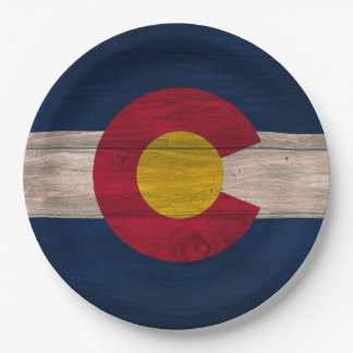 Wood Colorado flag disposable paper plates