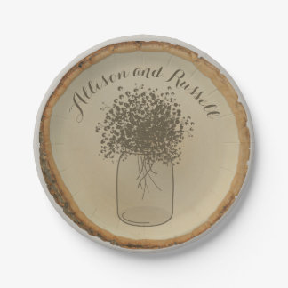 Wood Disc Inspired Baby's Breath Wedding Paper Plate