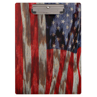 Wood grain American flag Clipboard