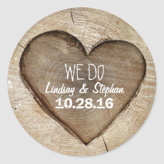 Wood Heart Rustic Wedding Classic Round Sticker