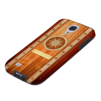 Wood Inlay Compass Phone Case with Name Plate