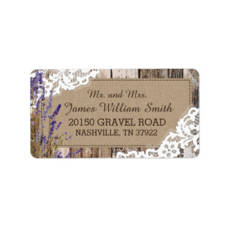 Wood Lavender and Lace Rustic Wedding Label