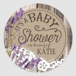 Wood Lavender Lace Rustic Baby Shower Label Round Sticker