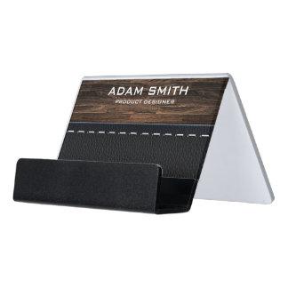 Wood & Leather Look Professional Modern Customised Desk Business Card Holder