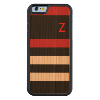 wood, red & black stripes with initial carved cherry iPhone 6 bumper case
