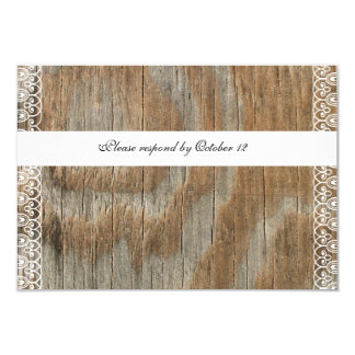 Wood Rings Shabby Lace rsvp with envelopes 9 Cm X 13 Cm Invitation Card