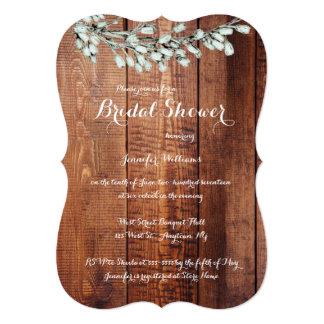 Wood rustic floral bridal shower invitations