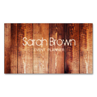 Wood texture business card for event planner magnetic business cards