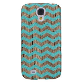 Wood turquoise chevron zig zag zigzag pattern galaxy s4 case