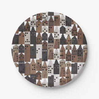 Wood village paper plate 7 inch paper plate