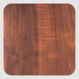 Wood WALNUT finish BUY BLANK Blanc Blanche + TEXT Square Sticker