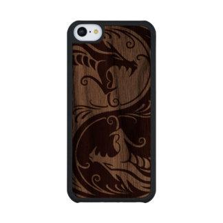Wood Yin Yang Dragons Carved® Walnut iPhone 5C Case