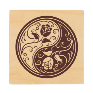 Wood Yin Yang Roses Wood Coaster