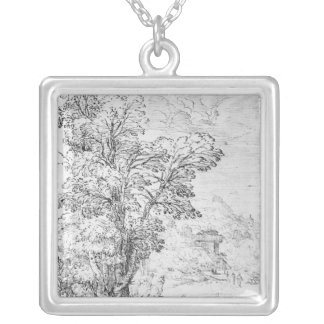Wooded landscape silver plated necklace