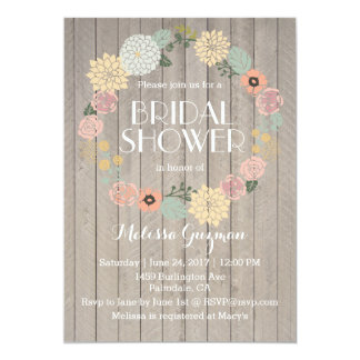 Wooden and Floral Bridal Shower Invitation
