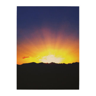 Wooden art sunset picture wood canvas