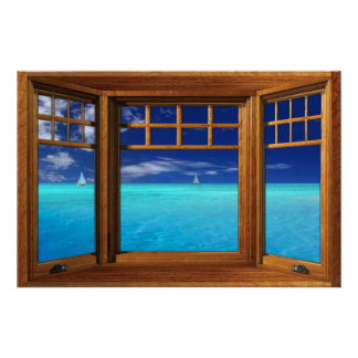 Wooden Bay Window Illusion - Sail Boats Poster