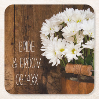 Wooden Bucket and White Daisies Country Wedding Square Paper Coaster