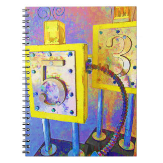 Wooden Found Object Robots Note Book