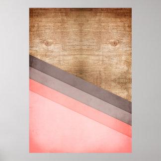 Wooden geometric art poster