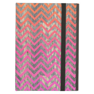 Wooden Gradient Pink & Orange Chevrons iPad Air Cover