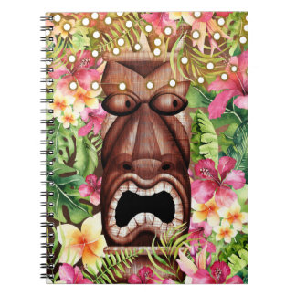 Wooden Hawaiian Tiki Luau Island Summer Floral Notebook