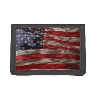 Woodgrain American flag Trifold Wallet